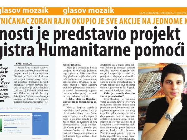 Zoran Rajn – razgovor o Registru humanitarne pomoći RH za Glas Podravine i Prigorja
